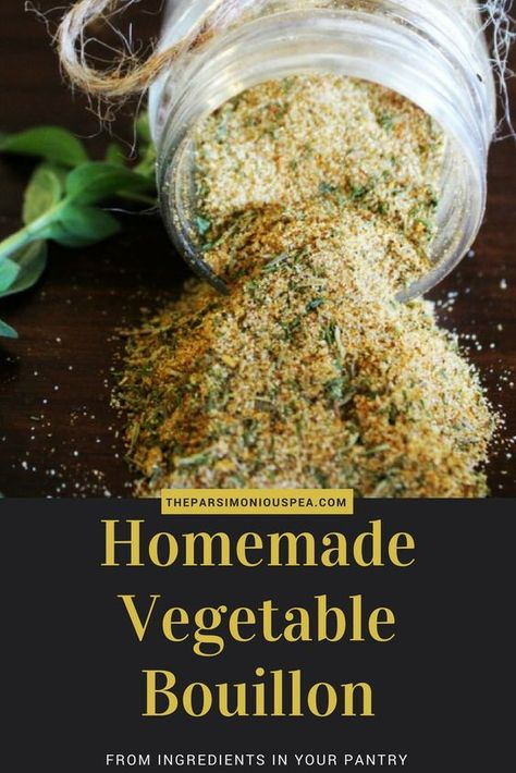 MSG Free Homemade Vegetable Bouillon Powder - - This delicious vegetable bouillon is made from common ingredients that you already have in your pantry. It is MSG free, natural, and versatile. Homemade Spices, Homemade Seasonings, Homemade Dry Mixes, Homemade Italian Seasoning, Whole Food Recipes, Vegan Recipes, Cooking Recipes, Easy Cooking, Vegan Meals