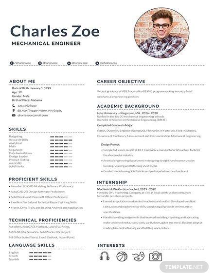 Free Mechanical Engineer Fresher Resume With Images