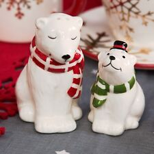 Polar Bear Cruet Set Xmas Salt Pepper Christmas Tableware Xm3221 Christmas Tableware Ceramic Pottery Salt Pepper Shakers