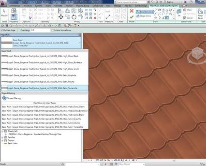 Revit Bim Download Free Components Icopal Decra Tile Tiles Roof System Aluminium Steel Panels Traditional Appearance Elegance Satin High Gloss Terracott