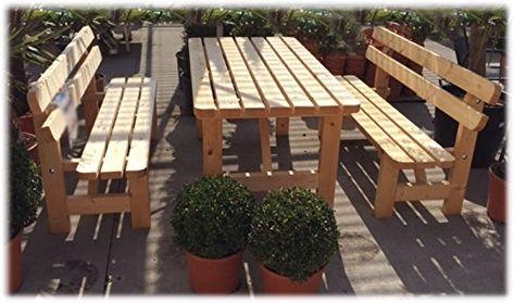 Stabile Holz Sitzgruppe Garten Garnitur 1 Tisch 2 Banke