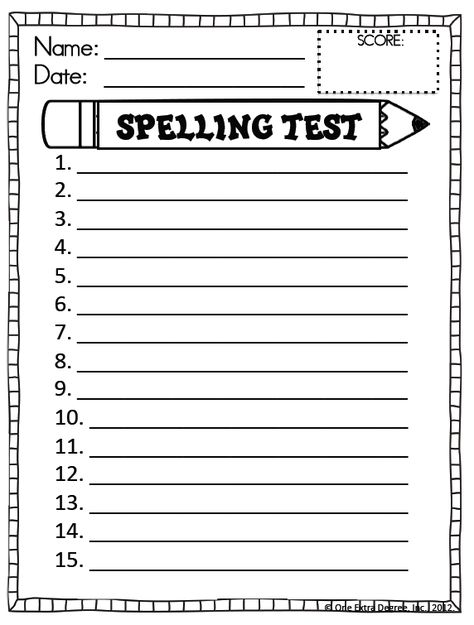 spelling. I would copy this multiple times and shrink down to fit a few on the page so each student would have their own little 'booklet' of spelling for the term. Helps you and them keep track of their progress or alert you to kids falling behind and with it all together it'll be organised.