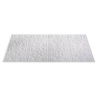 Spanish Silver 1 6 Ft X 1 6 Ft Glue Up Ceiling Tile In White Ceiling Tile Ceiling Tile Panel Embossed Ceiling Tiles
