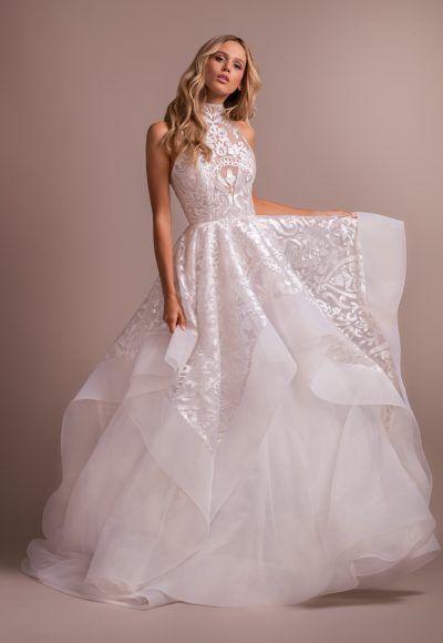 Blush Ball Gown High Neck Wedding Dress Secret Wedding In