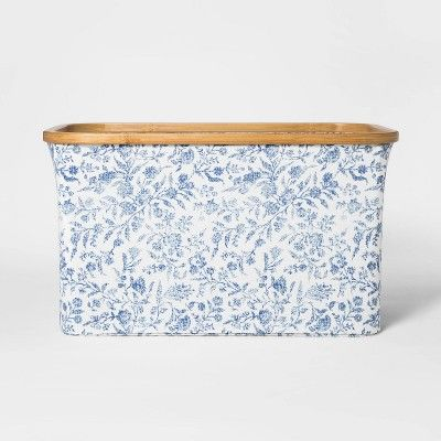 Soft Sided Laundry Basket With Bamboo Rim Floral Blue Threshold Laundry Basket Woven Laundry Basket Bamboo