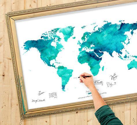 Livre d'or carte du monde aquarelle - couleurs personnalisées - ajouter citation de mariage, Date de mariage Decor - commentaires personnalisé livre Map - océan - marées couleur