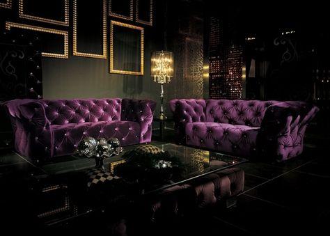 canapé violet | Les Tendances : Canapé 3 places Velours Violet ...