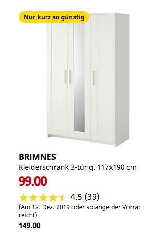Ikea Ludwigsburg Brimnes Kleiderschrank 3 Turig Weiss 117x190
