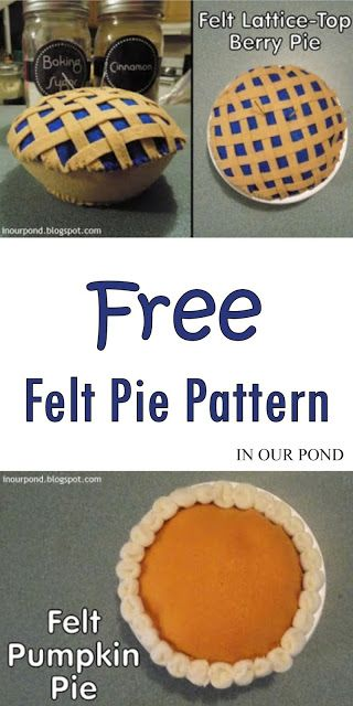 In Our Pond: Felt Pies (pattern) Happy Thanksgiving! The kids are getting a play kitchen for Christmas, so I made them some food. Here are the pies. Felt Diy, Felt Crafts, Felt Food Patterns, Felt Cupcakes, Felt Play Food, Fake Food, Felt Ornaments, Diy Food, Furniture Design