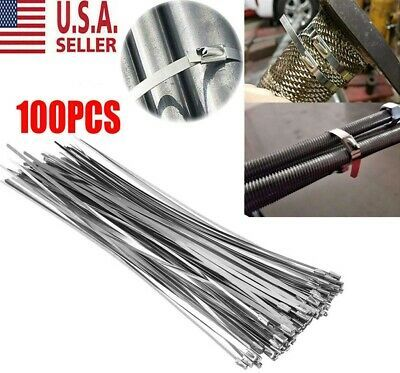 Sponsored Ebay 100 Stainless Steel 12 Exhaust Wrap Coated Metal Locking Cable Zip Ties Usa New In 2020 Wrap Coat Zip Ties Stainless Steel Cable
