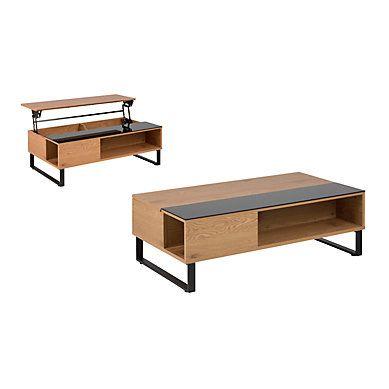 Table Basse Plateau Relevable Azalea Noir Et Imitation Chene En 2020 Table Basse Table Basse Plateau Table Basse Avec Plateau Relevable
