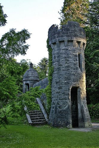 Towers in the Garden of Ashford Castle, Cong, Mayo, Ireland.  Ashford Castle is a medieval castle turned 5-star luxury hotel.