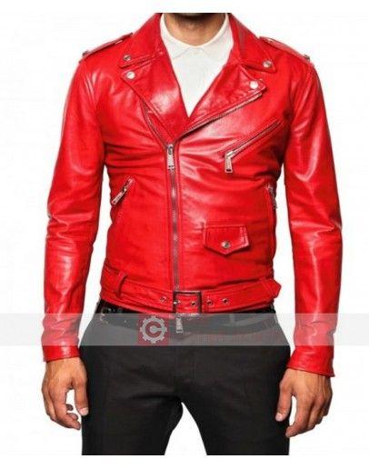 Mens Brando Red /& Black Biker Leather Jacket Sheepskin Motorcycle Top Cafe Racer