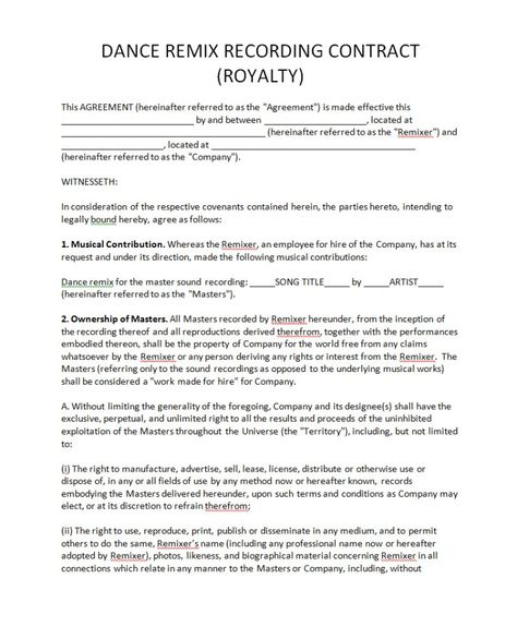 Pricing Record Label Agreements - royalty agreement contract - consultant agreement