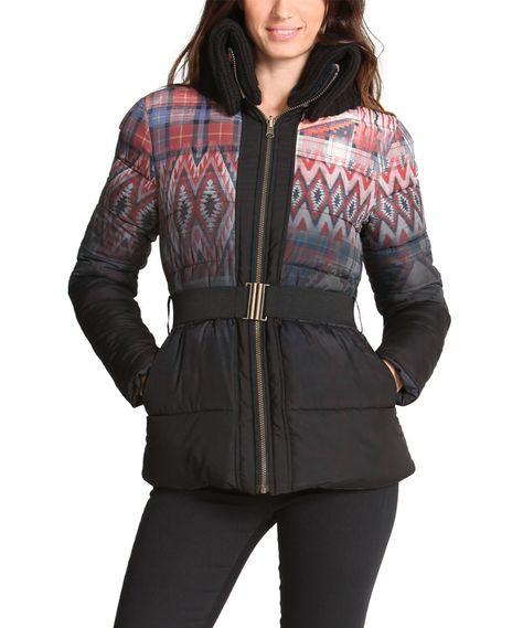 Desigual women's Roxana coat. High neck, two tone bright