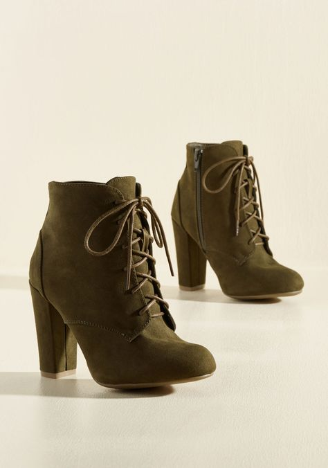 Gait Things are Coming Bootie - Green, Solid, Work, Casual, Minimal, Fall, Winter, Good, Lace Up, Chunky heel, Ankle, Green, Saturated, High, Girls Night Out, Military, Boho
