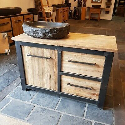 Metal Look Unterschrank Kommode Teak Altholz Loft Style Industrial 120x55x80 Ebay Unterschrank Badschrank Holz Badschrank