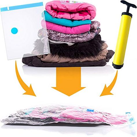 Kurtzy Vacuum Storage Reusable Ziplock Space Saver Bags (Pack of 5) 2 Small (40 cm x 60 cm), 2 Medium (50 cm x 70 cm), 1 Large (60 cm x 80 cm) with Hand Pump for Travel | Clothing and Wardrobe Storage, Home and Kitchen, Home Storage and Organization, Space Saver Bags | Best news and deals!
