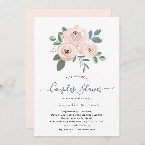 Elegant Blush Pink Flowers   Couples Shower #watercolorpinkflowers #rustic #elegant #vintage #dustyblueandgreen #prettyfloralbouquet #simpleandchic #blushpink #couplesshower #weddingshower