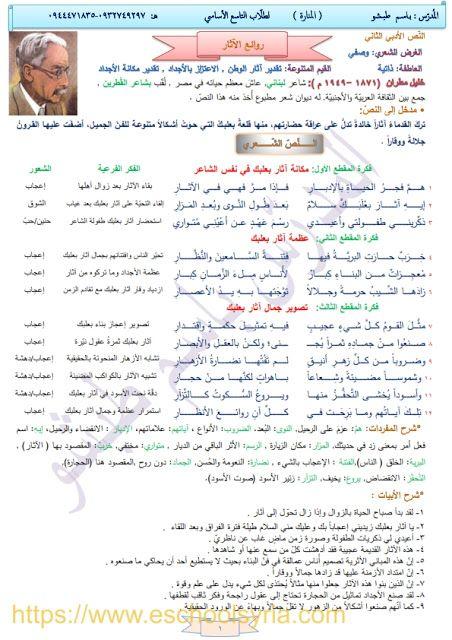 شرح قصيدة روعة الأثار في اللغة العربية للصف التاسع المنهاج المطور 2019 2020 Bullet Journal Journal