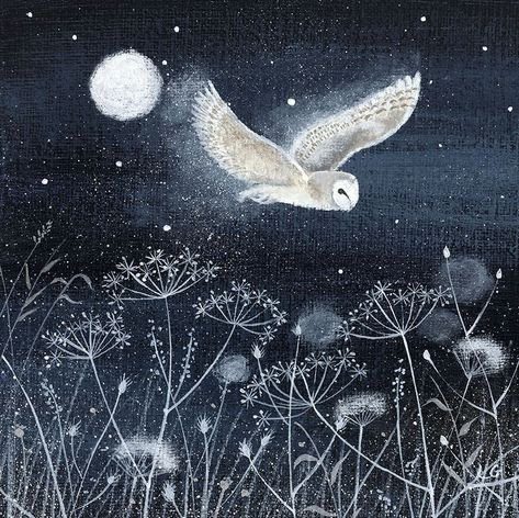 """Frosty Night"" by Lucy Grossmith Owl Art, Bird Art, Sleepy, Illustration Noel, Art Deco Posters, Mundo Animal, Mexican Folk Art, Wildlife Art, Whimsical Art"