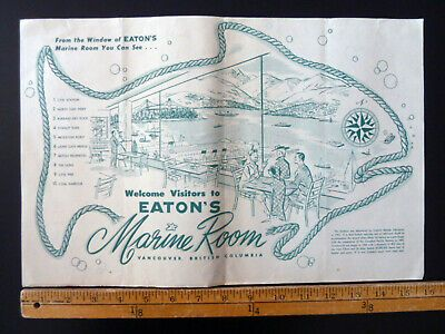 Ad Ebay Url Vintage Eaton S Placemat Marine Room Restaurant Vancouver 1956 T Eaton Co Canada Advertising Collectibles Eaton Vancouver