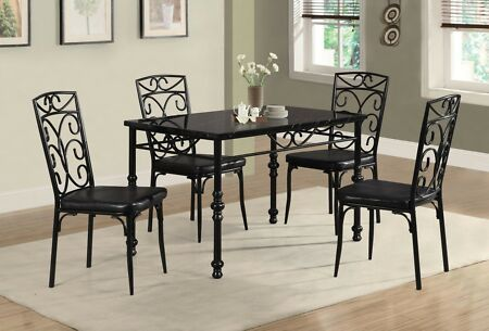 New Beautiful Metal Frame Black Dining Room Set 5pc Kitchen Dining
