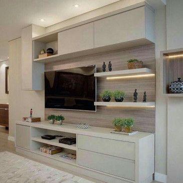 Partisi Tv Modern Ruang Keluarga Ruang Tamu Rumah Desain Interior