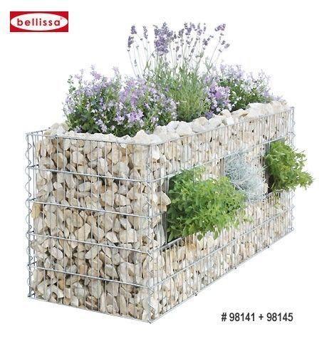 Bellissa Hochbeet Gabione 120x40x50cm 3 Pflanzschaechte Amenagement Jardin Muret De Jardin Deco Jardin