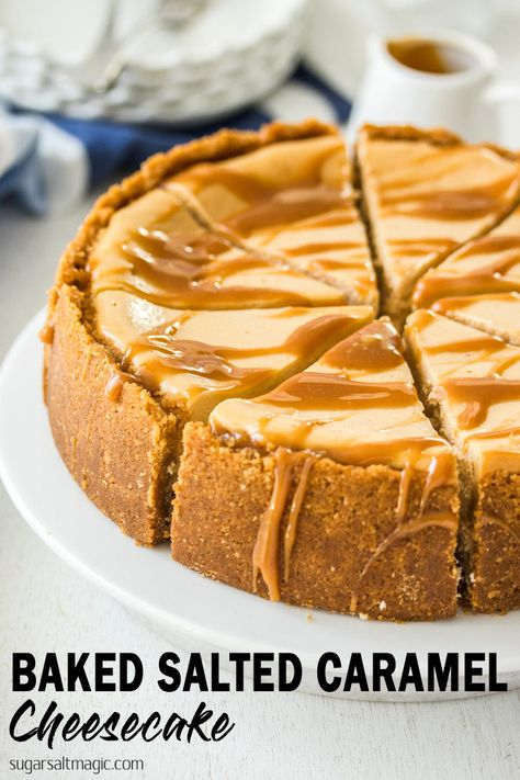 Baked Salted Caramel Cheesecake recipe is a combination of simple caramel sauce and an easy baked cheesecake. Rich, indulgent and no tricky steps.This Baked Salted Caramel Cheesecake recipe is a combination of simple caramel sauce and an easy b. Cheesecake Facil, Salted Caramel Cheesecake, Simple Cheesecake Recipe, No Bake Cheesecake, Carmel Cheesecake, Pumpkin Cheesecake, Cookie Dough Cheesecake, Coffee Cheesecake, Chocolate Cheesecake Recipes