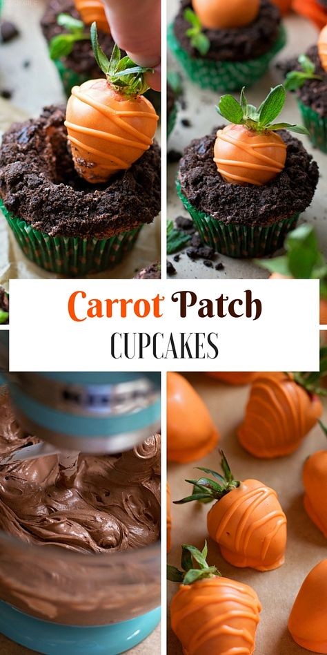 20 Cupcakes So Cute They're Almost Impossible to. Get the recipe ♥ Carrot Patch Cupcakes Cupcake Recipes, Baking Recipes, Dessert Recipes, Easter Recipes, Easter Baking Ideas, Easter Cupcakes, Baking Cupcakes, Birthday Cupcakes, Watermelon Cupcakes
