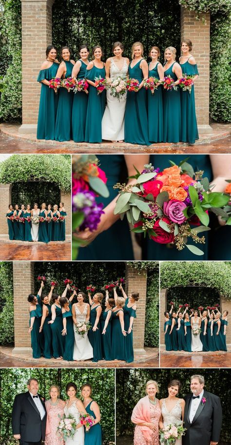 Claire and Carlos' The Bryan Museum Wedding was a wonderful celebration. Check out more of our favorites from this Galveston wedding! Dark Teal Bridesmaid Dresses, Teal Dress For Wedding, Teal And Grey Wedding, Spring Wedding Colors, Brides And Bridesmaids, Wedding Colors Teal, Wedding Ideas Blue, Wedding Themes, Wedding Dresses