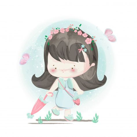 Character in lovely girl and boy style. Premium Vector