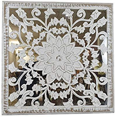 Amazon Com 3 X3 Indian Heritage Wooden Wall Panel Mdf Mirror With Carved Panel Design In White Distress Finish Wooden Wall Panels Wall Paneling Wooden Walls