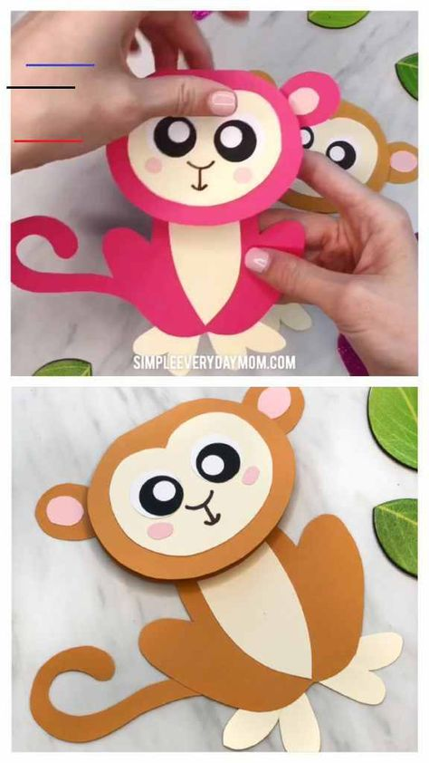 Cute Monkey Craft For Kids (With Free Printable Template) Easy Monkey Card Craft For Kids | Make these cute and simple monkey cards with this free printable template and some paper and glue. It's a perfect art project to make for Mother's Day, Father's Day or parent's birthdays!   #toddlers #preschool #kindergarten #gradeschool #elementary #mothersday #fathersday #mothersdaycards #monkeycraft #craftsforkids #kidscrafts #ideasforkids #homemadecards #kidsdiy #kidsactivities #activitiesforkids #kid