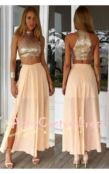 67c79a95fba Two Piece Rose Gold Sequin Chiffon Long Prom Dress 2018 Slit