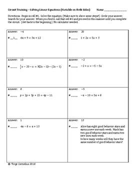 Circuit Training Solving Linear Equations Variable On Both