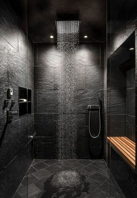 Bath Room, Ceiling Lighting, Enclosed Shower, Slate Floor, and Stone Tile Wall Rain shower Photo 2 of 21 in House in the Woods by Kim Smith