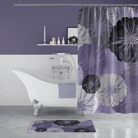 Purple And Gray Floral Print Shower Curtain Purple Bathrooms