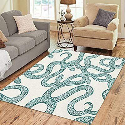 Amazon Com Pinbeam Area Rug Serpent Pattern Snakes Patter Animal Cartoon Elegant Nature Home Decor Floor Rug 2 In 2021 Floor Rugs Natural Home Decor Patterned Carpet
