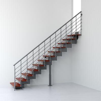 Escalier Droit Metal Et Bois Magia 90xtra L 70 Cm 11 Marches Gris
