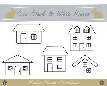 Cute Black And White Houses Clip Art This Set Contains 5 Different Png Images Each 300dpi Each Image Is App Clip Art Rock Painting Designs Japanese Patchwork
