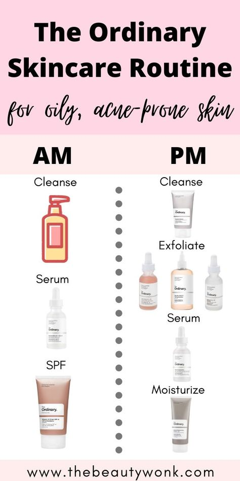 The Ordinary Skincare Routine for Oily, Acne-Prone Skin - - An easy, minimal and effective skincare routine for oily, acne-prone skin using The Ordinary products! This routine will also hydrate and even out the skin. Oily Skin Routine, Skin Care Routine Steps, Beauty Care Routine, The Ordinary Skincare Routine, Nighttime Skincare Routine, Korean Skincare Routine, Morning Skincare Routine, Oily Skin Care, Skincare For Oily Skin