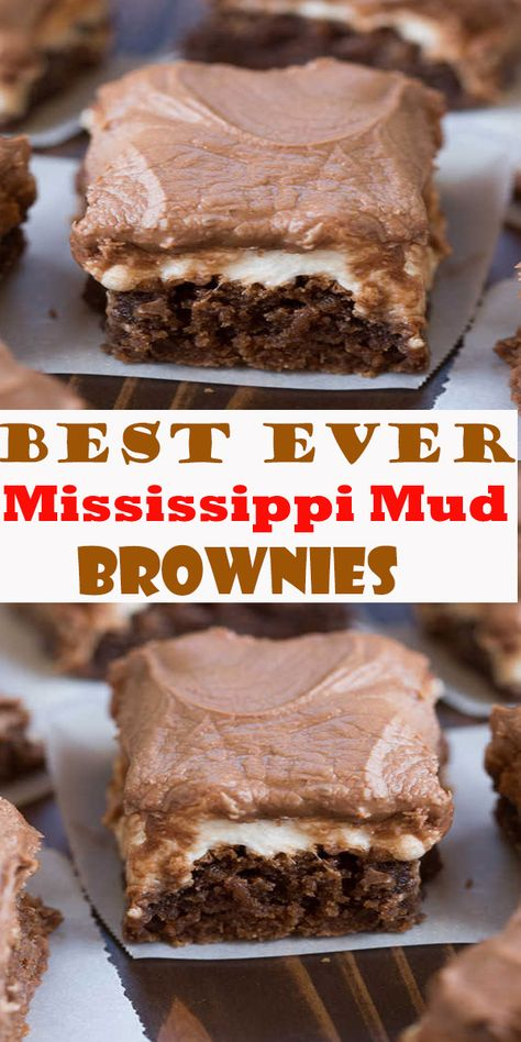 Mississippi Mud Brownies Mississippi Mud Brownies My favorite one-bowl brownie recipe topped with warm gooey marshmallows and choc. Chewy Brownies, Nutella Brownies, Best Brownies, Fudge Brownie Pie, One Bowl Brownies, Marshmallow Brownies, Dessert Simple, Healthy Dessert Recipes, Easy Desserts