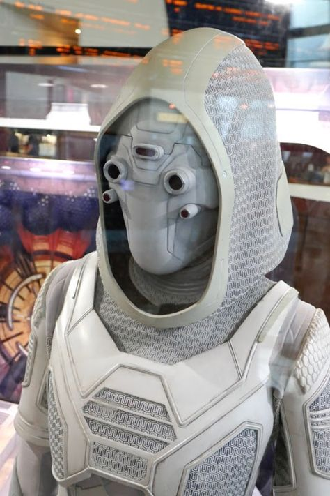 Hannah John-Kamen's Ghost costume from Ant-Man and the Wasp on display...