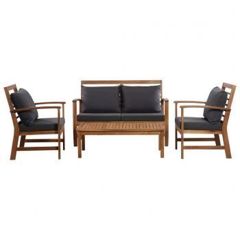 Huberxxl Huberxxl Garten Lounge Set Mit Auflagen 4 Tlg Massivholz Akazie Lounge Mobel Palettenmobel Im Freien Mobelideen