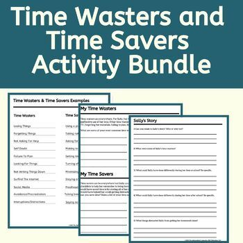 What Is It This Is An Activity Bundle Designed To Increase Student Awareness And Understandin Time Management Activities Time Management Skills Time Management