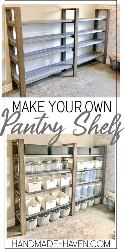 Create this DIY Pantry Shelf for only $50 with this easy how-to #pantry #pantryshelf #kitchen Diy Storage Shelves, Easy Shelves, Craft Shelves, Pantry Shelving, Pantry Storage, Shelving Ideas, Shelf Ideas, Basement Shelving, Storage Ideas