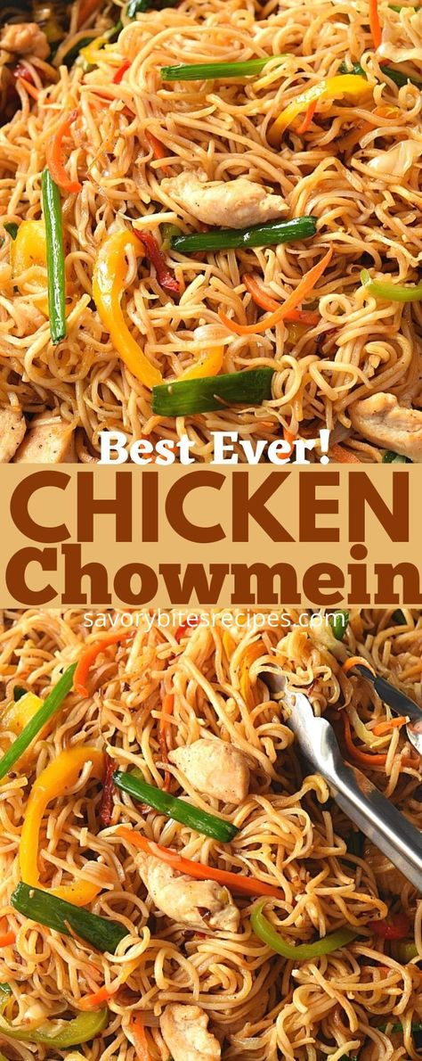 Takeout style - Chicken Chow Mein at home! So easy and so good. #savorybitesrecipes #chickenchowmein #easyrecipe #chinesefood #chowmeinnoodles #chowmeinreciep #dinnerrecipes