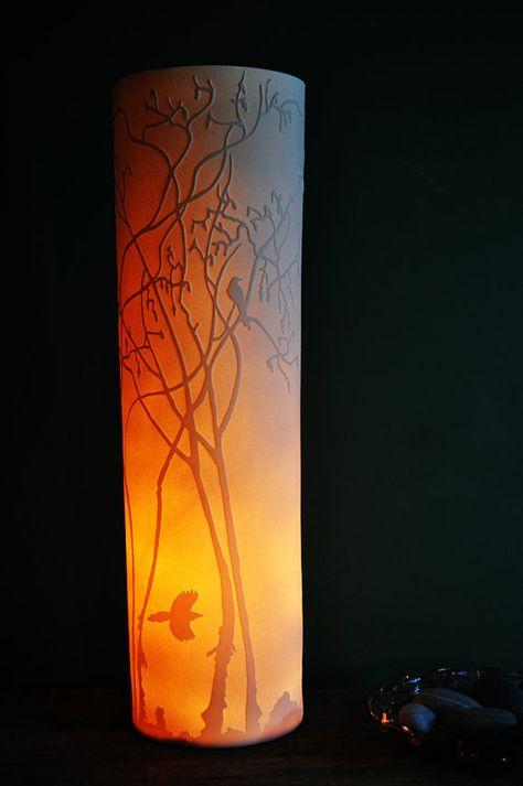 Hazel Saplings Porcelain Lamp